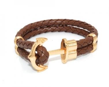 кожаный браслет с золотом мужской