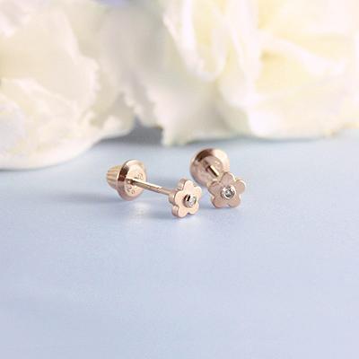 золотые пусеты для девочки с бриллиантами